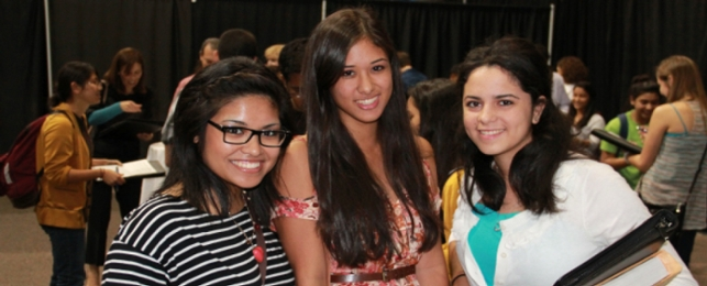 PICTURED: (L-R): Honors students Geraldine Macaisa, Melissa Villalobos, and Natalie Negron